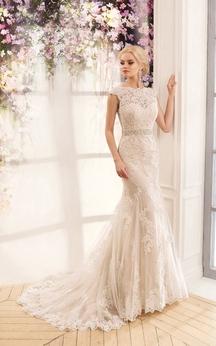 Mermaid Long Jewel Cap-Sleeve Deep-V-Back Lace Dress With Appliques And Waist Jewellery
