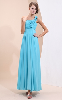 Simple Ankle-Length Chiffon Dress With Floral Strap