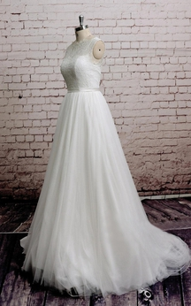 Sleeveless A-Line High Neck Tulle Dress With Lace Bodice and Illusion Back