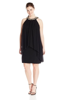 High-neck Chiffon Dress With Jeweled Neckline