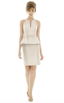Satin Sleeveless Fitted Dress With Peplum