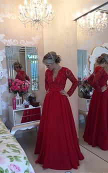 Delicate Red Chiffon Lace Prom Dress 2016 Pearls Long Sleeve