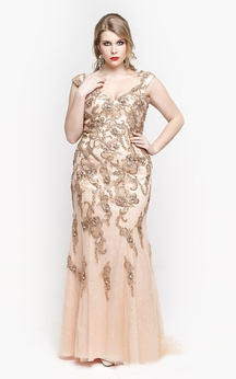 V Neck Cap Sleeve Trumpet Lace Long Dress With Low-v Back