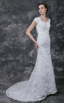 Ethereal Slim-fitting Crystal-beaded A-line Wedding Gown
