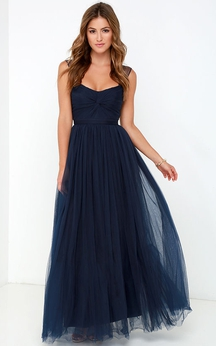 Sleeveless A-Line Long Stylish Tulle Dress