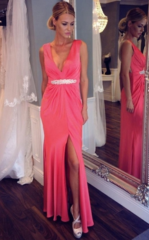 Sleeveless V-neck Long Sheath Dress with Beadings