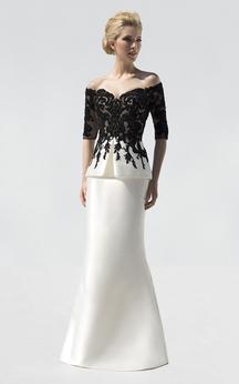 Mermaid Floor-Length Off-The-Shoulder Half Sleeve Satin Appliques Beading Dress