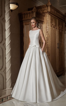 A-line Sleeveless Bateau Satin Dress With Bow&Drapping
