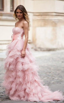 Strapless A-line Gown with Ruffles and Flower