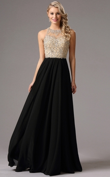 Empire Floor-Length Sweep High-Neck Sleeveless Empire Chiffon Beading Keyhole Dress