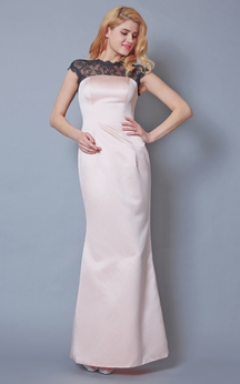 Noble Lace Cap-sleeved Sheath Satin Gown With Back Split