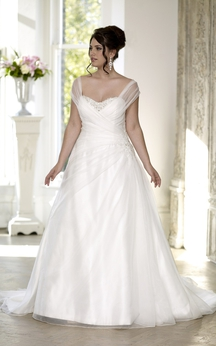 A-Line Floor-Length Sweetheart Cap Satin Court Train Lace-Up Back Side Draping Dress