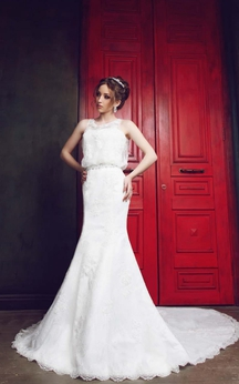 Sheath Floor-Length Scoop Sleeveless Illusion Lace Dress With Appliques And Waist Jewellery