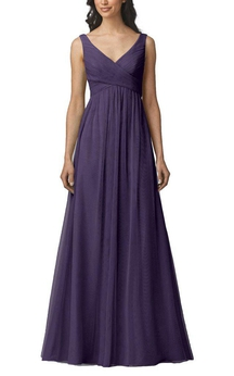 Strapped V-neck Empire Tulle Bridesmaid Dress