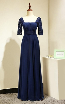 Backless Lace Half Sleeve Pleated A-line Chiffon Long Dress Royal Blue