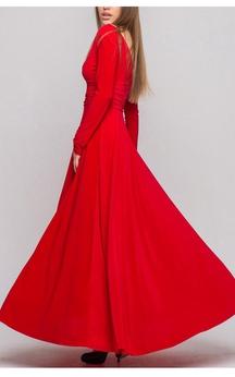V Neck V Back Long Sleeve A-line Pleated Jersey Long Dress