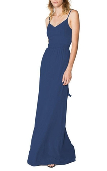 Spaghetti Straps Long Chiffon Bridesmaid Dress
