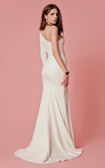 Rhinestoned Neck Fitted Long Dress With Slit