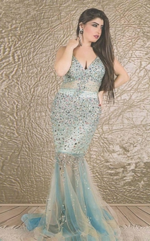 Glamorous V-neck Sleeveless Mermaid Prom Dress With Crystals