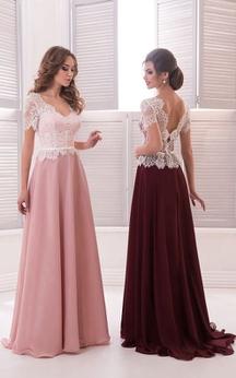 A-Line Floor-Length Sweep V-Neck Short Sleeve Chiffon Lace Ruffles Low-V Back Dress
