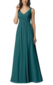 Empire V-neck Strapped Long Bridesmaid Dress with Ruching