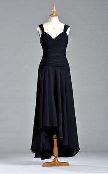 Noble V-neck A-line Dropped Tea-length Dress