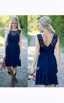 A-line Short Jewel Sleeveless Bell Backless Chiffon Lace Dress