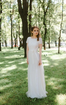 Short Sleeve Jewel Neck Tulle Long Gown With Low-V Back