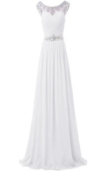 Sleeveless Crystal Stone Appliqued Long Pleated Chiffon Dress