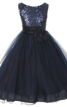 Sleeveless A-line Sequined Dress With Flower and Pleats