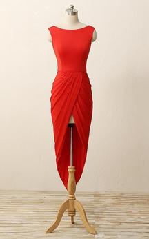 High-low Pleats Zipper Low-v Back Sheath Chiffon Dress