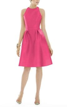 Sleeveless A-line Short Satin Dress