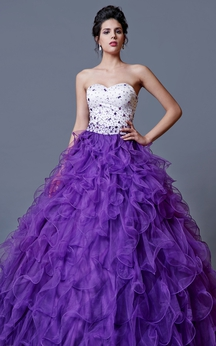 Flamboyant Glam Beaded Bodice on Ruffled Ball Prom Gown