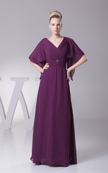 Plunged Chiffon Floor-Length Criss-Cross Bolero and Dress With Broach