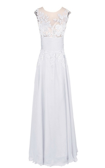 Sleeveless Sequined Appliqued Long Pleated Chiffon Dress