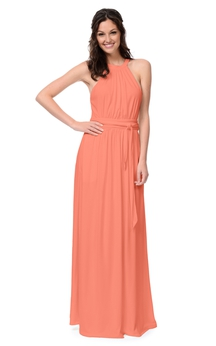 Chiffon Sleeveless Delicate Dress With Bow Sash