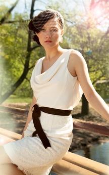 Knee Length Sheath Sleeveless Lace Dress With Bow Sash