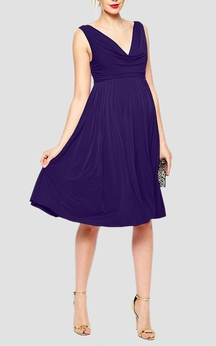 Sleeveless V Neck Empire A-line Jersey Dress With Pleats