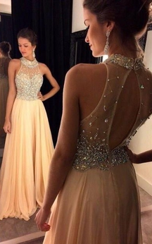 A-line Sleeveless Chiffon Crystal High Neck Sweep Train Dresses