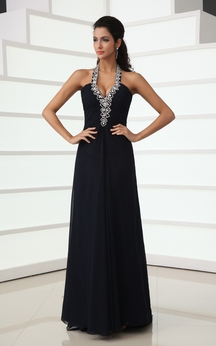 Sexy Halter A-Line Chiffon Gown With Back Crystal Strap