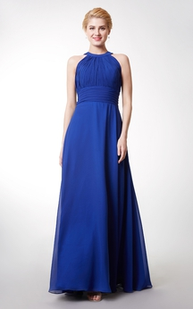 Chic High Neck Chiffon Gown With Ruching and Keyhole