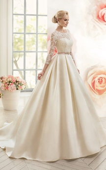 A-Line Long Scoop Long-Sleeve Deep-V-Back Satin Lace Dress With Appliques And Waist Jewellery