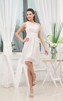 Ethereal Asymmetrical Chiffon Midi Dress With Zipper Back