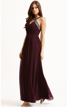 Sexy A-Line Long Dress With Front Keyhole
