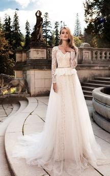 V-neck Long Lace Sleeve Low V Back Dress With Peplum&Crystal Detailing
