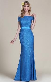 Sheath Off-The-Shoulder Short Sleeve Lace Lace Lace Zipper Dress