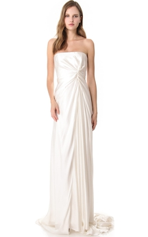 Long Strapless Empire Satin Dress With Deep-V Back Style