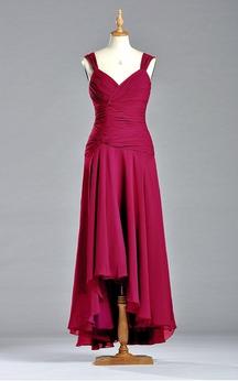 Elegent Sleeveless V-neck Dress with Ruching