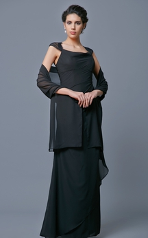 Classic Cap-sleeved Chiffon Long Dress with Cape