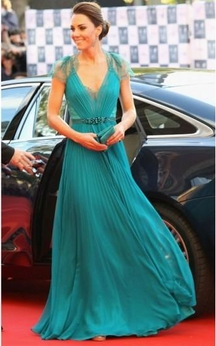 A-line Sleeveless Pleats V-neck Floor-Length Chiffon Dresses